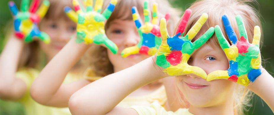 Picture of kids with painted hands